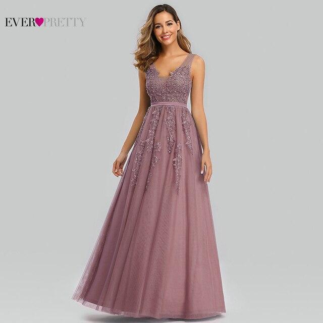 Elegant Prom Dresses Long Ever Pretty A Line Double V Neck Lace Appliques Formal Evening Party Gowns Vestidos Formatura Longo