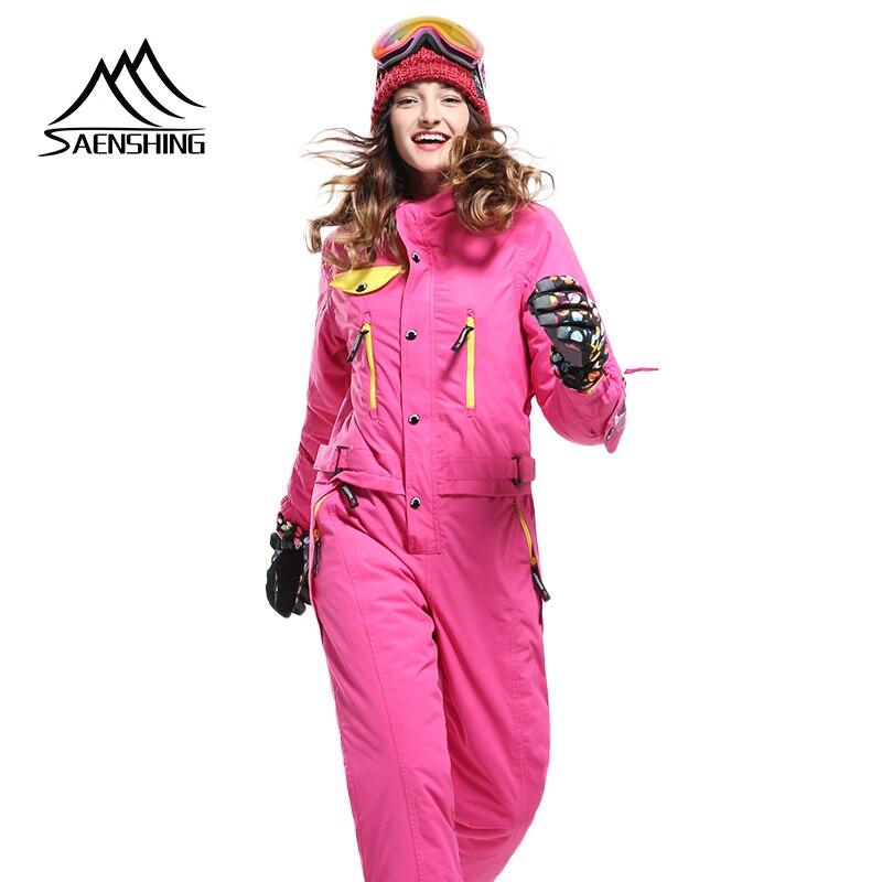 SAENSHING цельный лыжный костюм Wmen зимняя теплая водонепроницаемая куртка + штаны Теплый Сноуборд комбинезон женский дышащий Тонкий комплект