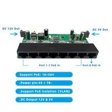 Wanglink cofania przełącznik POE 8 portów 10/100M 5V i 12V DC Out cofania przełącznik POE płytka obwodów drukowanych