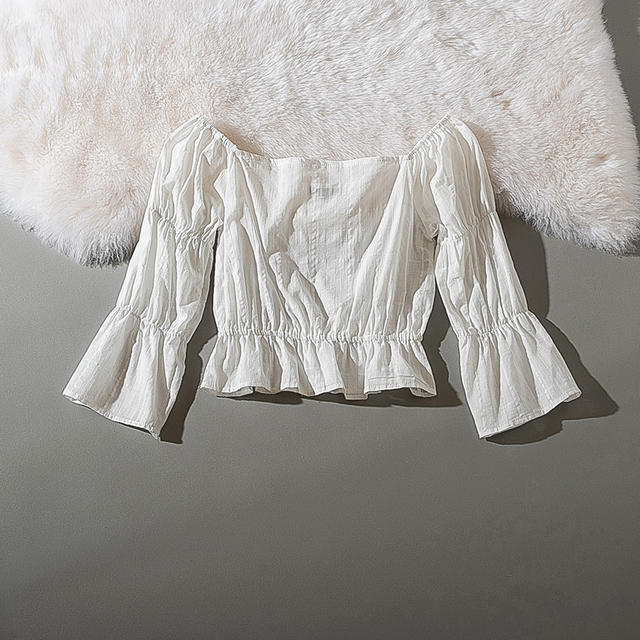 Cthink Spring 2020 New Slash Neck White Short Blouse Women Stylish Flare Sleeve Slim Soft Cotton Busas Good Summer Women's Dress