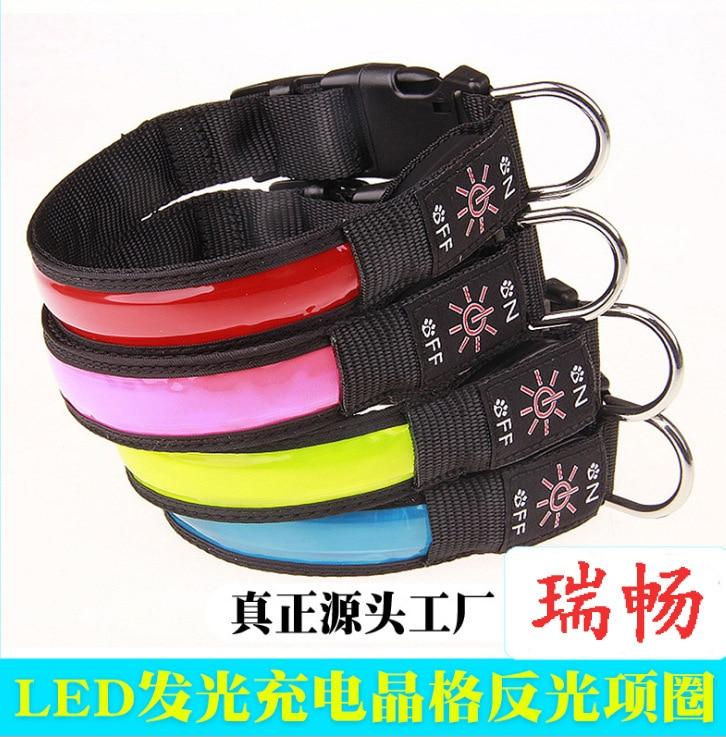LED Luminous Collar Dog Collar UBS Charging Lattice Reflective Neck Ring Pet Light-emitting Supplies Gift