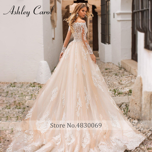Image 2 - Detachable Mermaid Wedding Dresses 2020 With Jacket 2 In 1 Boat Neck Full Sleeve Appliques Lace Up Bridal Gown Vestido De Noiva