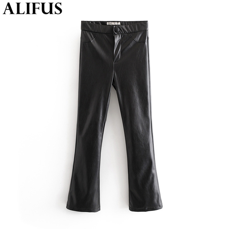 Fashion Za Women 2019 Autumn PU Leather Flare Pants Female Slim Punk Stylish Stree Wear Trousers For Women's Clothing