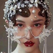 Мода Лолита Фея очки Рамка бабочка очки головные уборы жемчужные бусины с кисточками цепь модель шоу студия фотосессия украшения