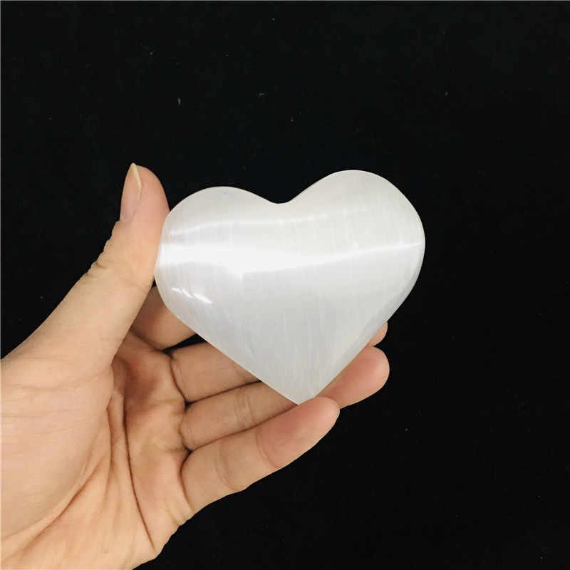 Lámpara de selenita Natural tallada Torre de la llama varita de cristal curativo corazón Palma piedra cuchillo blanco regalo placa de la decoración de La Meca xyw