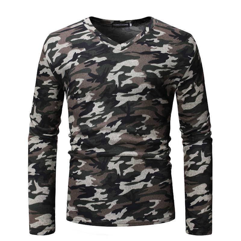 BINHIIRO, Мужская футболка из смешанного хлопка, удобная, с принтом, с длинным рукавом, камуфляжная, тонкая, для фитнеса, повседневная, для Длинного Рукава, футболка для мужчин