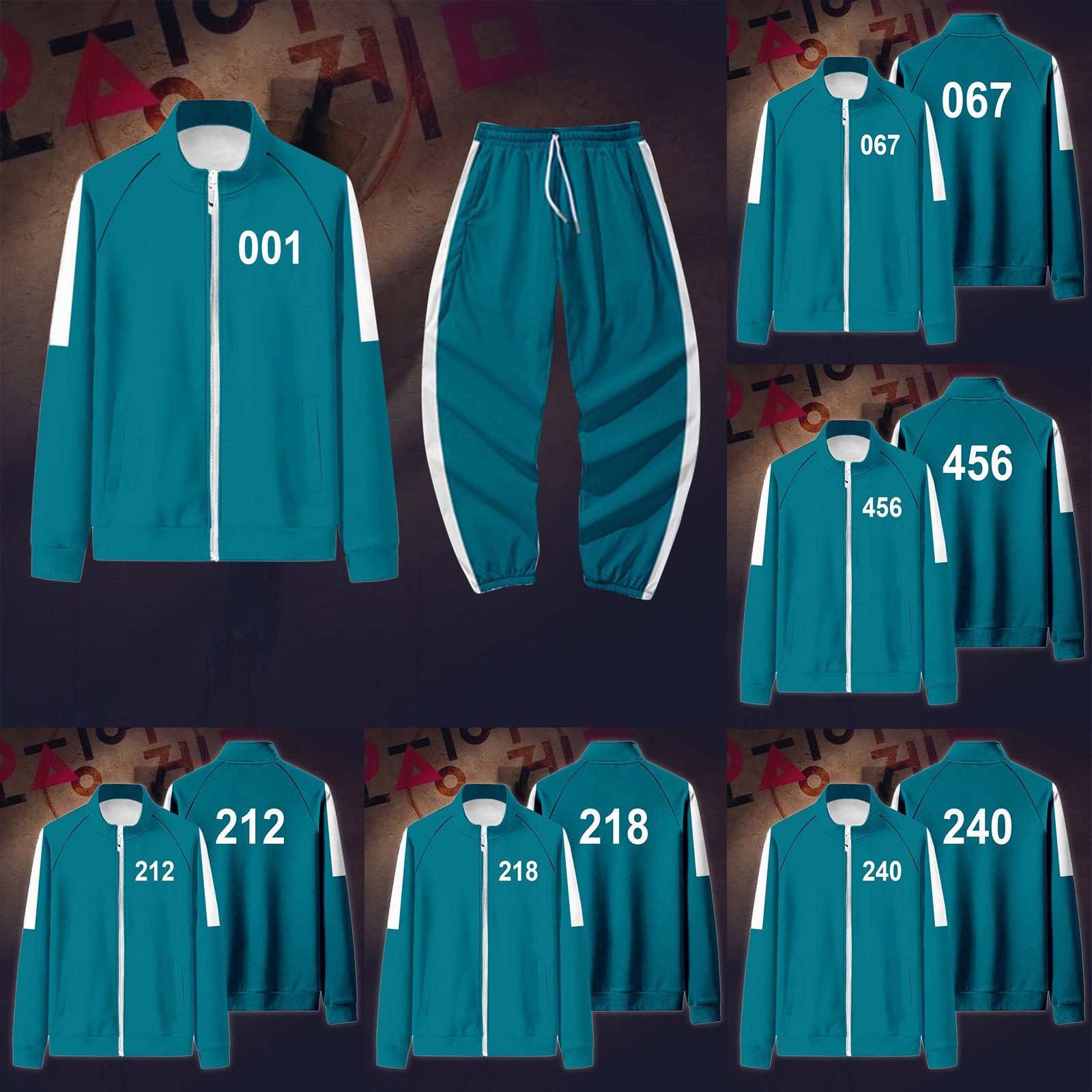 Squid Game Costume Cosplay Coat Sportswear Jacket 456 Digital Sweater 001 Korean Drama Same Clothes Autumn Winter Sports Set