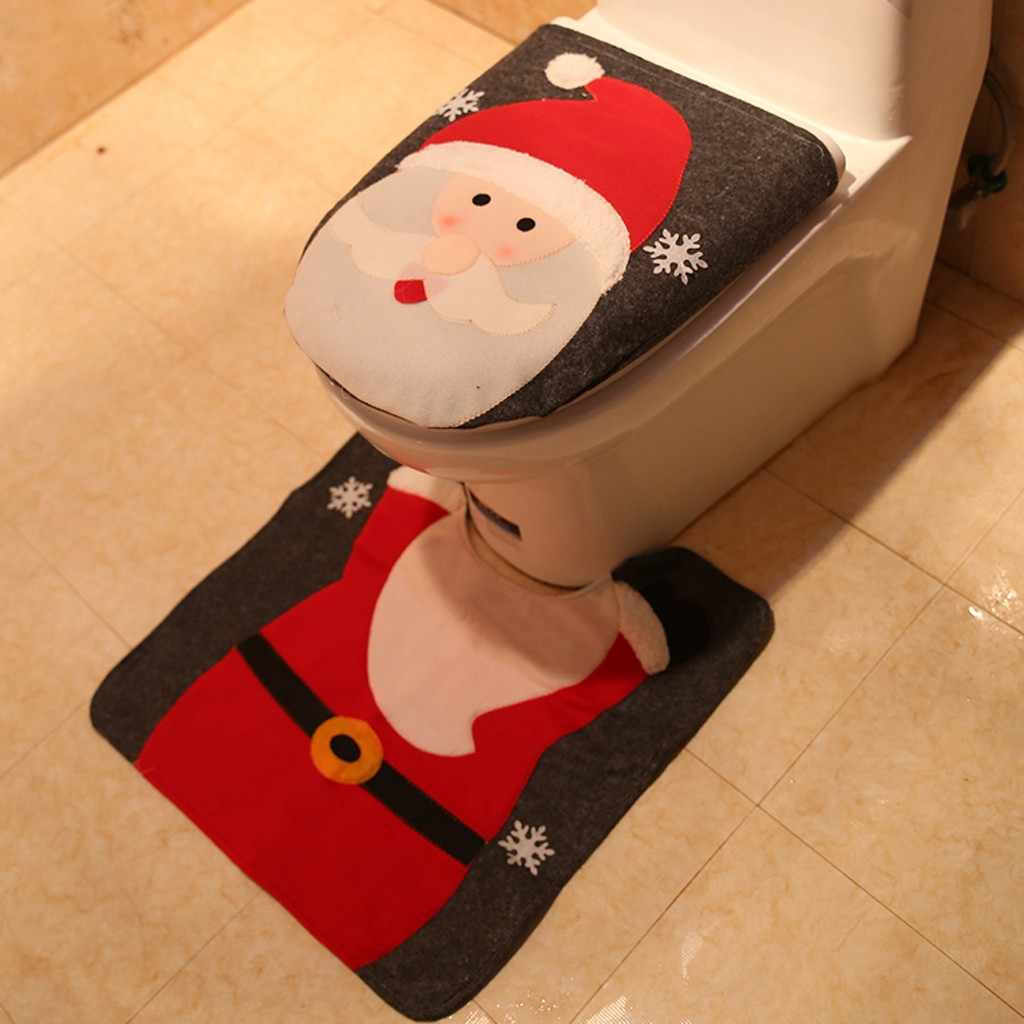 2PC ファンシークリスマス装飾便座とマットラグ浴室セット不織布クリスマスの装飾ホーム