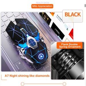 Image 5 - משחקי עכבר נטענת אלחוטי עכבר שקט LED עם תאורה אחורית 2.4G USB אופטי ארגונומי משחקי עכבר אופטי למחשב נייד למחשב