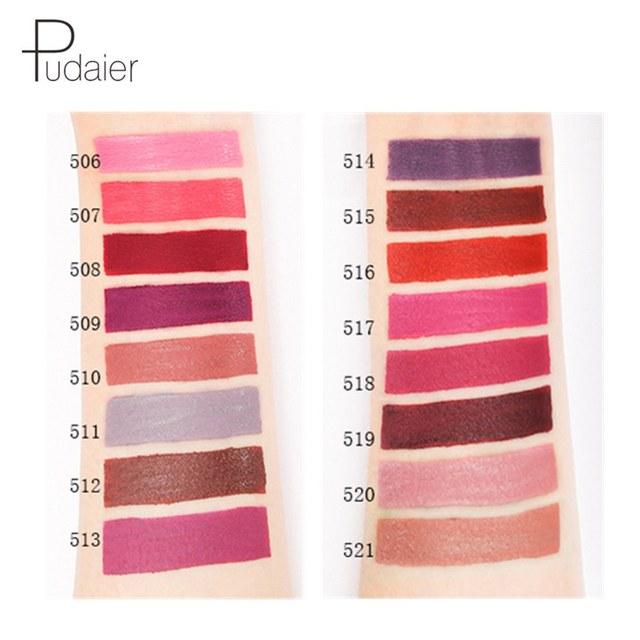 Pudaier 16Color Nude Matte Lipstick Waterproof Liquid Lipstick Long Lasting Moisturizer Women Red Lip Stick Tint Makeup Cosmetic 3