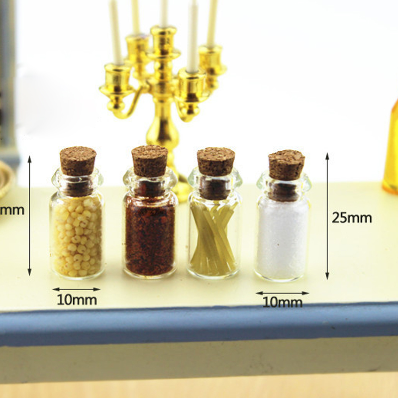 4Pcs Mini Seasoning Food Bottle DIY 1/12 Dollhouse Miniatures Kitchen Food Craft Pretend Play Tableware Doll House Accessories