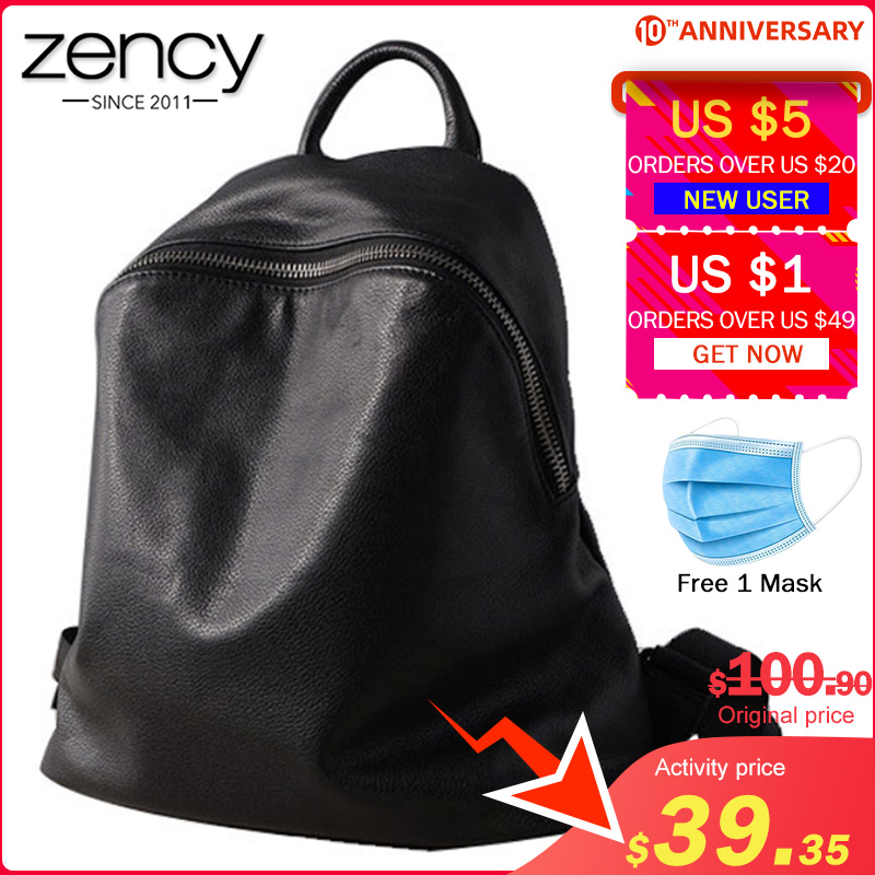 Zency Cowhide 100% Genuine Leather Black Women Backpack Vintage Travel Bags Notebook Schoolbag For Girls Daily Holiday Knapsack