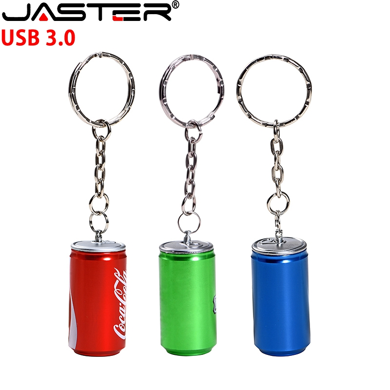 JASTER USB 3.0 Fashion Hot Selling Metal 3-color Cola Tank USB Flash Drive 4GB 128GB 16GB 32GB 64GB USB External Storage Disk