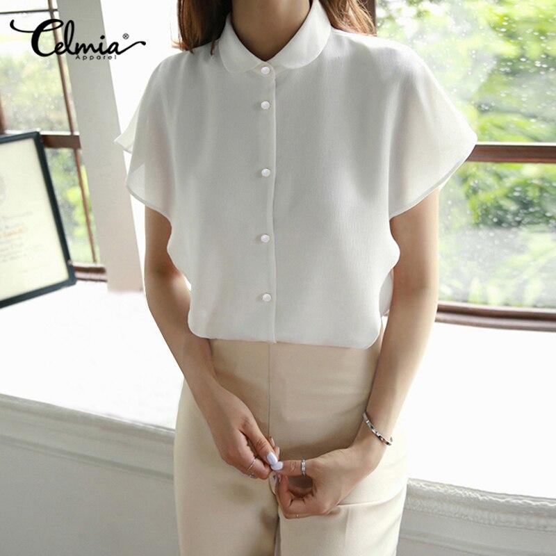 Celmia Plus Size Ruffles Shirts Elegant Women White Chiffon Blouse Summer Short Sleeve Office Tops Buttons Casual Loose Blusas 7