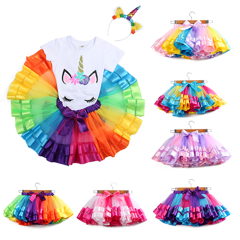 Baby Girls Tutu Skirt Tulle Clothes Pettiskirt  3M-8T Princess Mini Party Dance Rainbow