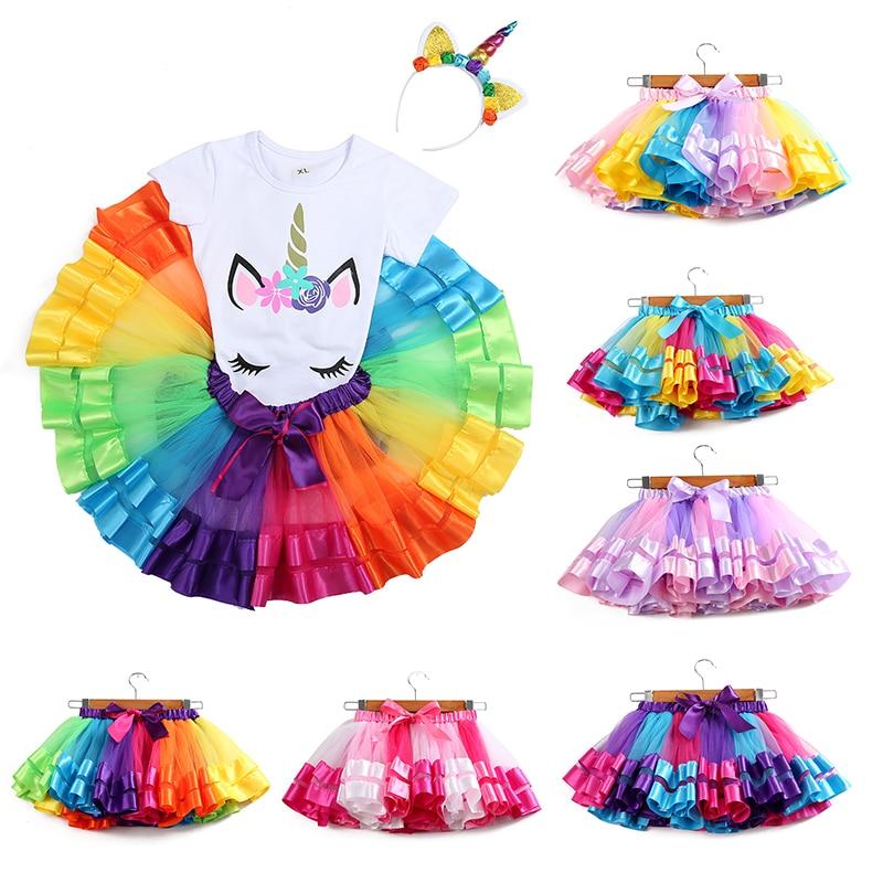 Baby Girls Tutu Skirt Tulle Skirt Girls Clothes Pettiskirt Skirt  3M-8T Princess Mini Pettiskirt Party Dance Rainbow Skirt