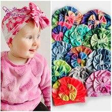 Nishine-gorros con lazo para recién nacidos, 11 colores, 19,5x15 CM, lazo colorido, decoración para fiesta de vacaciones