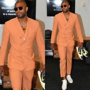 New Orange Men Suits Blazer Wedding Suits Slim Fit 2 Pieces Groom Tuxedos Best Mens Prom Suits (Jacket+Pants) Custom Made