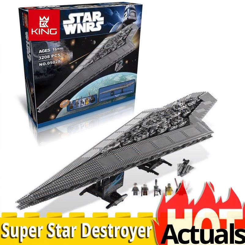 KING 05028 UCS LEGOinglys 10221 Super Star Destroyer Starship model Wars building construction toys Blocks Brick birthday gift