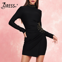 INDRESSME 2019 New Women Sexy Bandage Dress Long Sleeve Stand Collar Rivet Fashion Elegant Party Club Summer