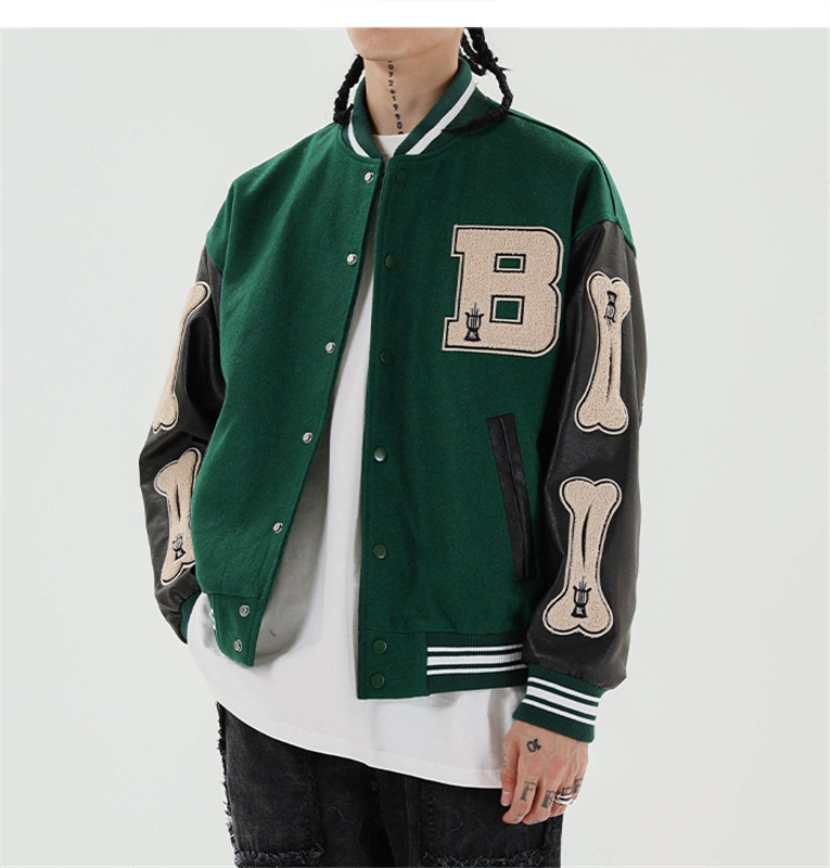2021 pre-sale Hip Hop Furry Bone Patchwork Color Block Jackets Mens Harajuku Streetwear Bomber Jacket Men Baseball Coats Unisex