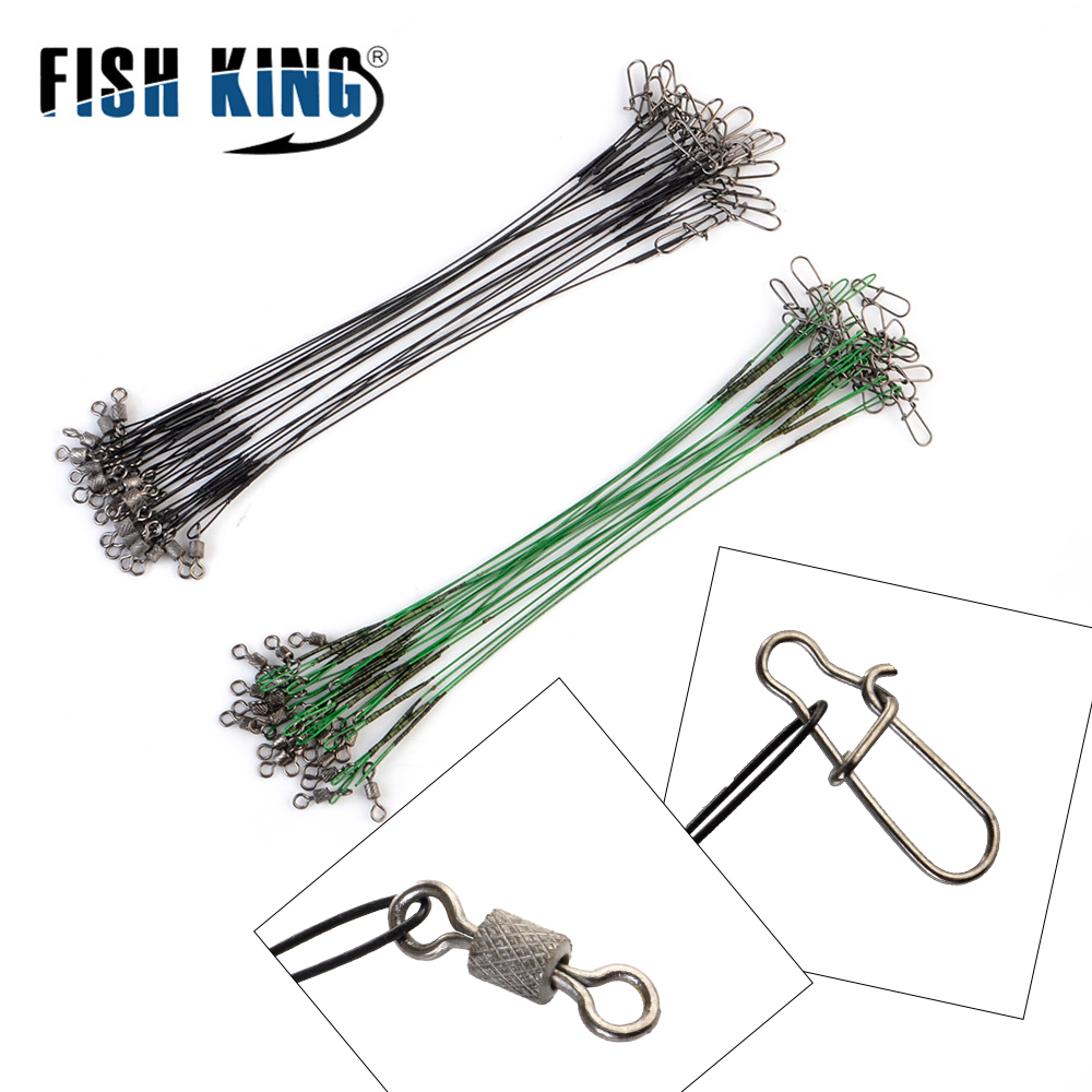 20pcs 16/20/25cm Stainless Steel Wire Leader Fishing Leash With Swivel 50LB Anti-bite Line Leadcore For Lure Accessories Pike
