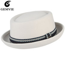 Gemvie 100% шерстяного фетра crushable для мужчин женщин белая