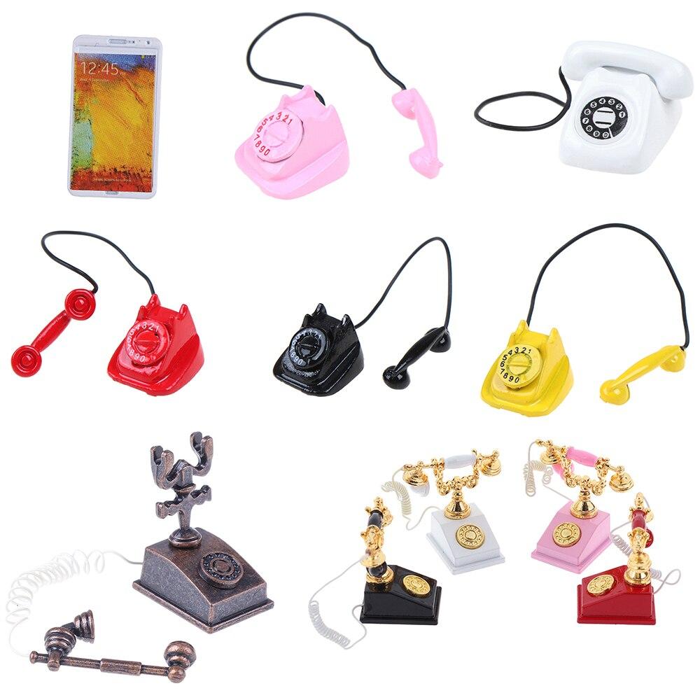 New 1:12 Miniature Phone Model Alloy Vintage Retro Rotary Telephone Phone Dollhouse Decoration Accessories