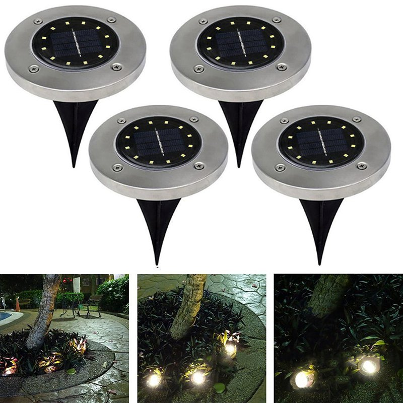 1 2 4 Pcs 12 Leds Solar Power Buried Light Underground Lamp Upgraded LED Solar Power Light For Outdoor Path Way Garden Decking in LED Lawn Lamps from Lights Lighting