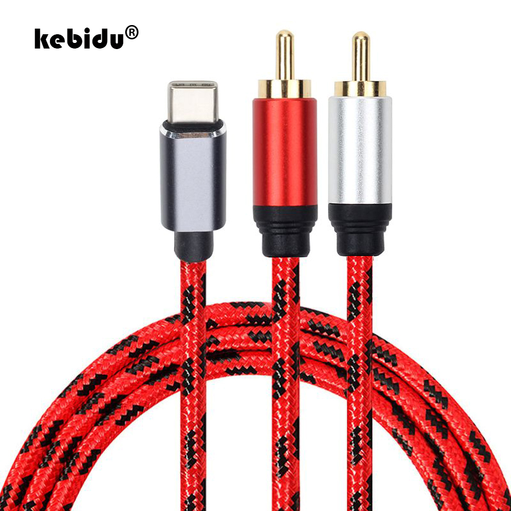0.5m 1m 2rca Jack Type C RCA Cable USB C RCA Audio Cable Type-C to 2 RCA Cable for iPhone Sumsung Xiaomi Speaker Home Theater TV