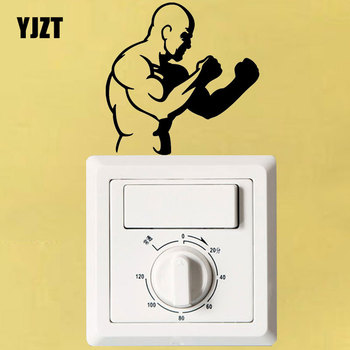 YJZT Fighter Fighting Stance Boxing Light Switch Decal Home Decor Vinyl Bedroom Wall Sticker S18-0092 image