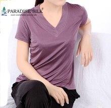 Kadın T Shirt % 100% saf ipek örme bayan V yaka kısa kollu temel üst boyutu L XL XXL XXXL