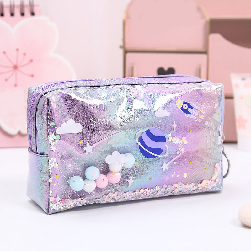 Creative Laser Leather Pen Box For Kids Girls Cute Pencil Case PVC Toiletry Cosmetic Bag Makeup Bag Coin Bag Fashion Beauty Case
