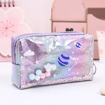 Creative Laser Leather Pen Box For Kids Girls Cute Pencil Case PVC Toiletry Cosmetic Bag Makeup Bag
