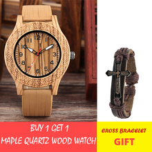 Classic Engraved Pattern Wooden Watch for Men Women Retro Fashion Red/Maple Wood Quartz Mens Wristwatch Genuine Leather Strap