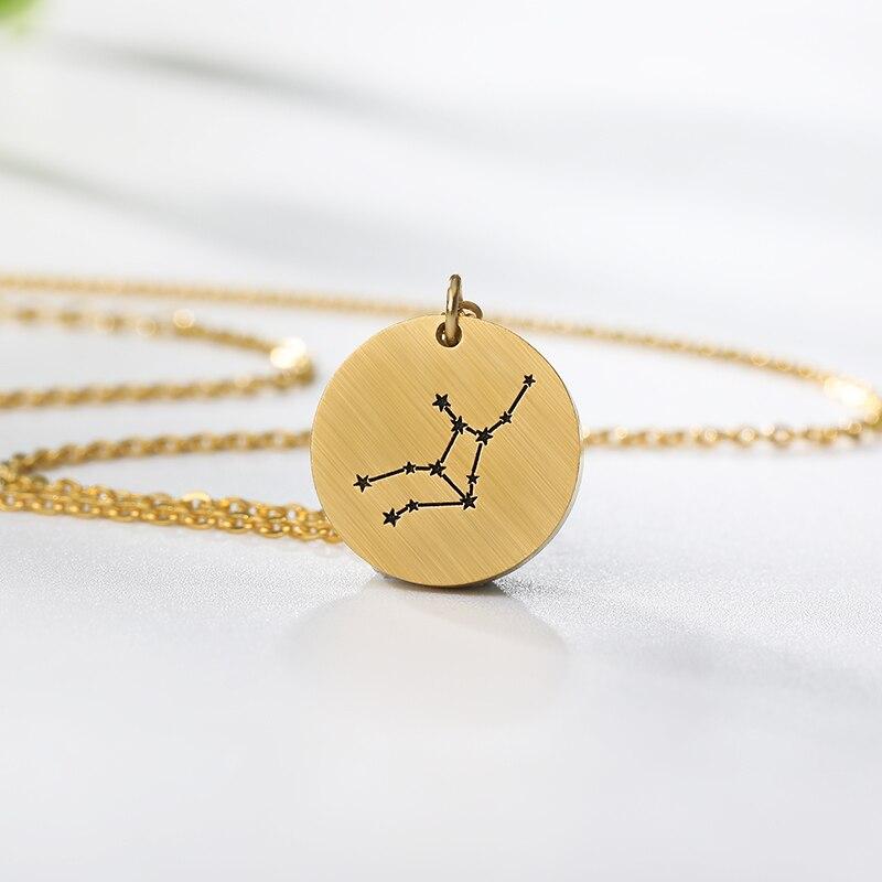 Twelve Constellations Zodiac Necklace For Women Virgo Sagittarius Aquarius Leo Scorpio Pisces Aries Taurus Gemini Cancer Libra