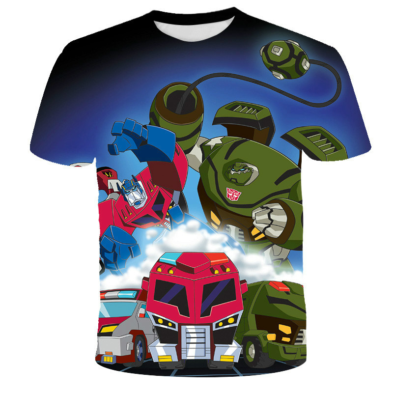 Boys and girls 3D printing T-shirts cartoon cute street clothes fashion fabric children's casual sports shirts 2021 new styles a