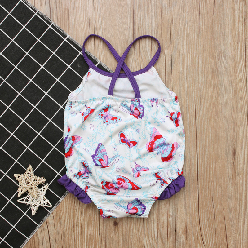 Children Europe And America Summer Style Girls Butterfly Swimming Suit Sleeveless Off-Shoulder Camisole Bathing Suit Childrenswe