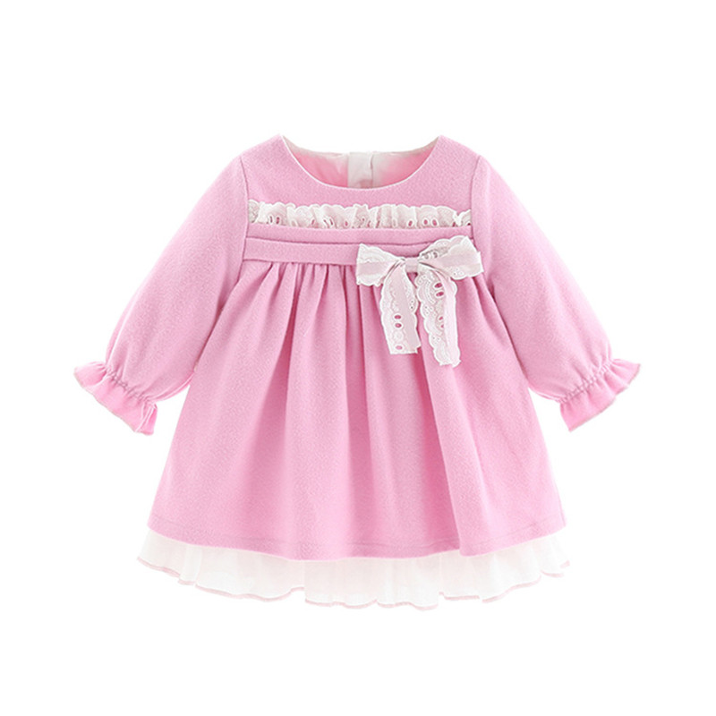Image 5 - Baby Girls Dresses Princess Girls Clothes Children Clothing Preppy Style Kids Clothes Ball Gown with Bow 1 5Y-in Dresses from Mother & Kids