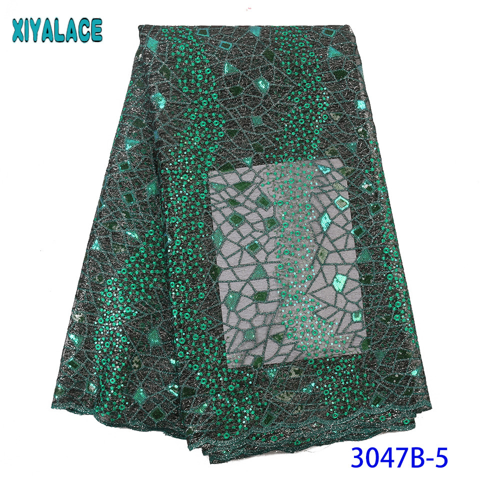 Green African Lace Fabrics 2019 High Quality Organza Lace Nigerian Tulle Lace Fabric French Net With Sequins KS3047B