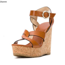 Casual Shoes Sandals Wedges Open-Toe Brown High-Heels Us-Size Fashion Women Olomm Gorgeous