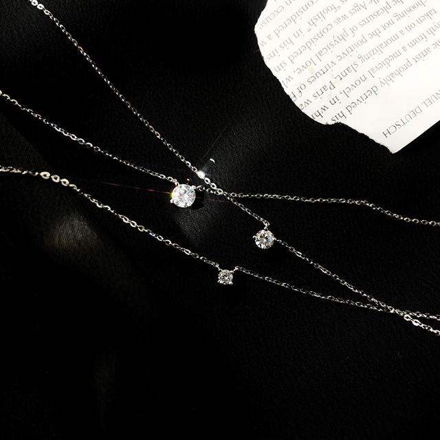 Trendy 925 Sterling Silver O-Chain Necklace 0.3cm/0.4cm/0.5cm Zircon Necklace For Women Gift Summer Fashion Jewelry NK033 4
