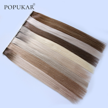 Popukar Colorful Straight Tape In Human Hair Extensions Human Hair Skin Weft Human Remy Hair PU Tape On Hair Extensions 14 color tape in hair extensions human hair machine remy pu skin weft color 14 24 inch straight tape hair extensions human hair