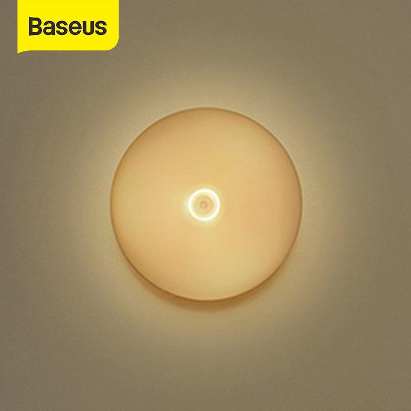 Baseus Warm LED Night Light PIR Motion Sensor Intelligent Nightlight Lamp For Children Kids Living Room Bedroom Stairs Lighting