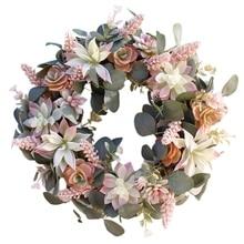 BESTArtificial Succulent Flower Wreath Garden Hanging Wreath for Home Wall Front Door Wedding Decor