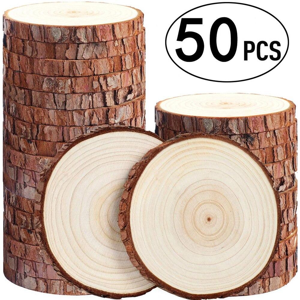 50 pçs diy unfinished round madeira fatia natural casca de árvore discos círculos artesanato material arte artesanato decoração acessórios