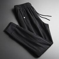 Man Plus Size 4xl Luxury Wool Blending Thicken Yarn Dyed Dark Grain Men Casual Pants Slim Fit Mens Trousers