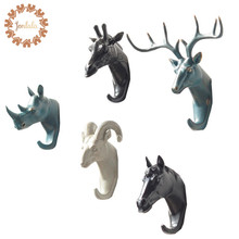4PCS/SET Rhino Elephant Giraffe Horse Animal Decorative Hook Creative Resin Model Bathroom Wall Hook Coat Hook Wall Hanging Hook