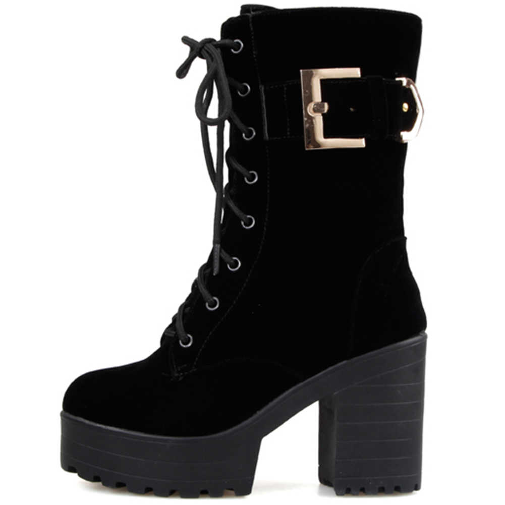 DORATASIA 33-43 New Elegant เข็มขัดสุภาพสตรี Chunky ส้นวันที่รองเท้าผู้หญิง LACE-Up ข้อเท้ารองเท้าผู้หญิง 2019