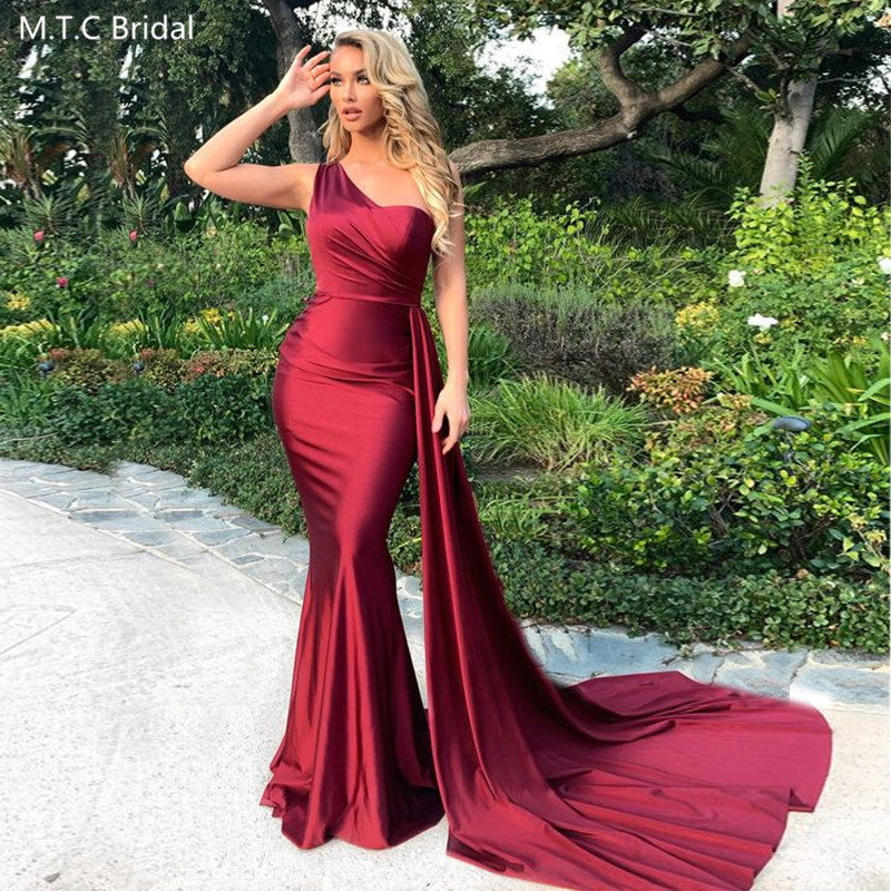 Burgundy Long Mermaid Sexy Prom Dresses One Shoulder Backless Satin Formal Dress Plus Size Wedding Party Gowns Robe De Soiree
